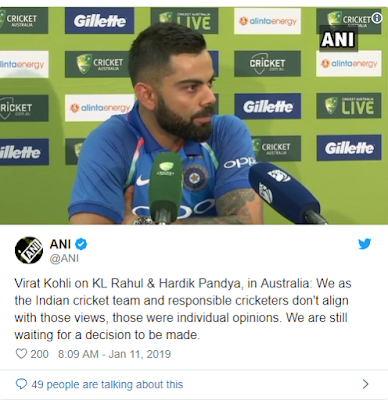 Virat Kohali on Hardik Pandya Koffee With Karan Controversy