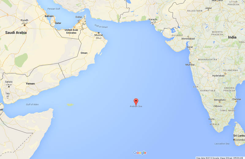 22 interesting facts about the arabian sea all five oceans map of the arabian sea from google maps gumiabroncs Choice Image