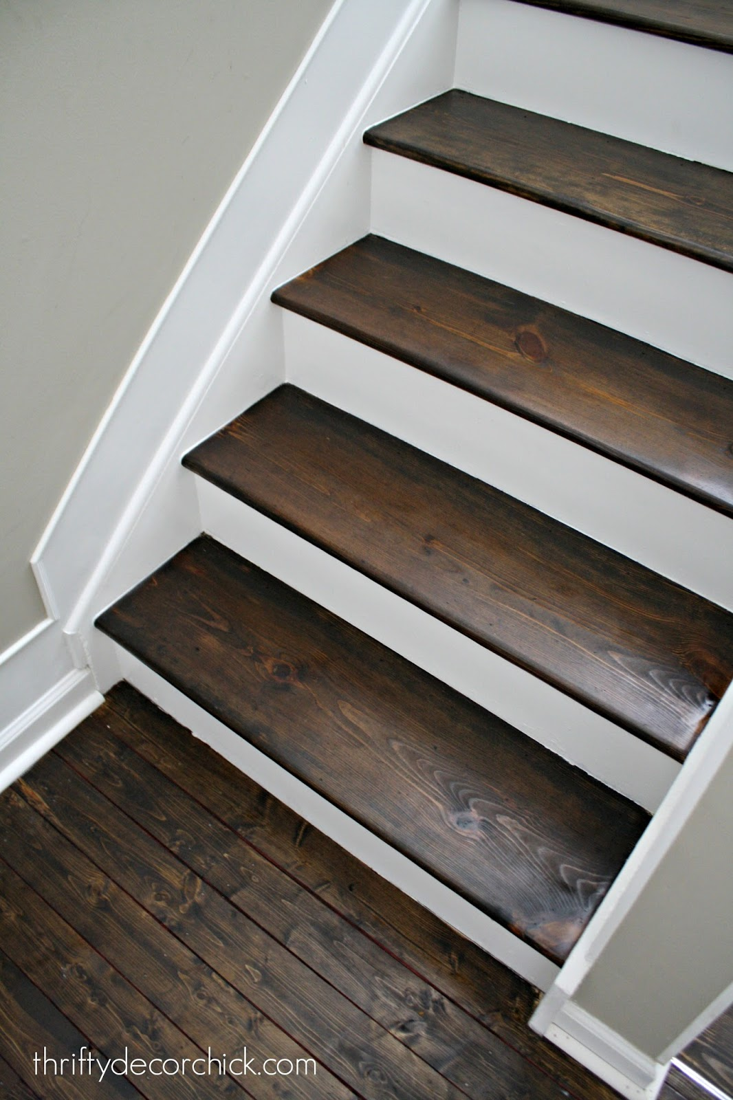 Wooden Steps Wood And White Stair Makeover From Thrifty Decor Chick