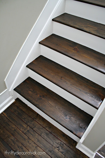 Beau Wood Stairs With White Risers