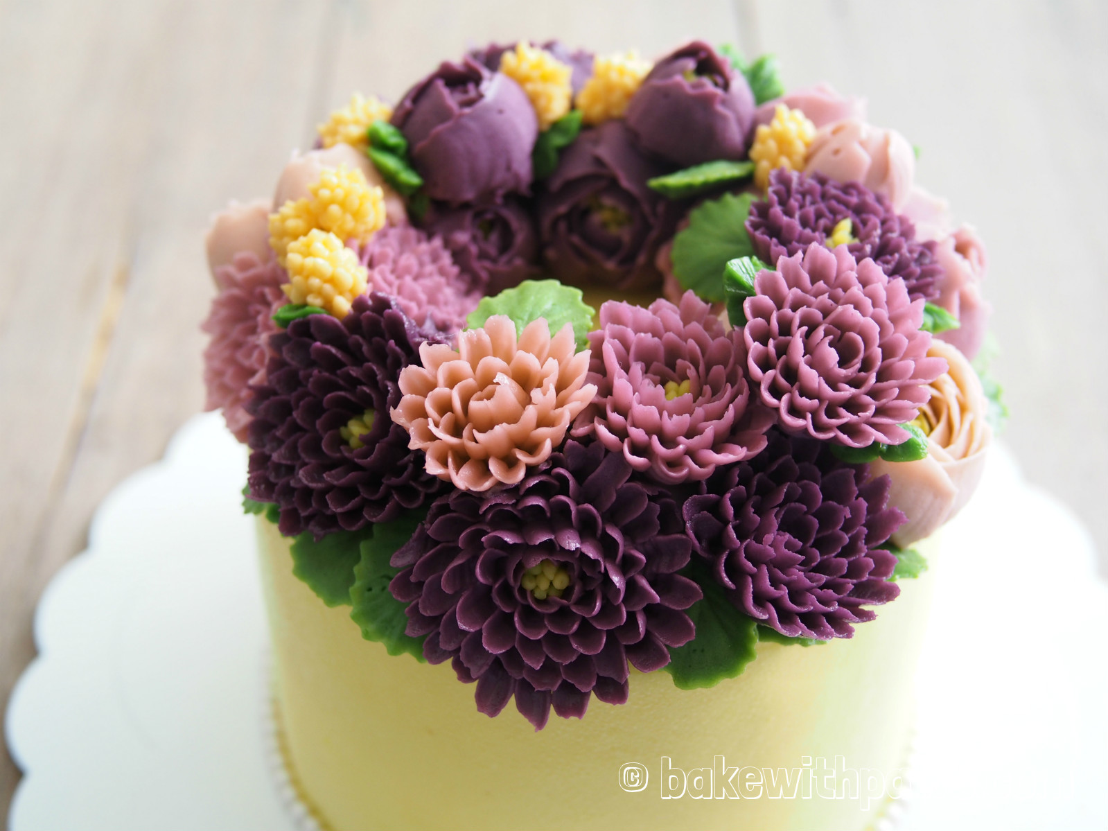 Korean Style Buttercream Flowers Cake 9 Bake With Paws