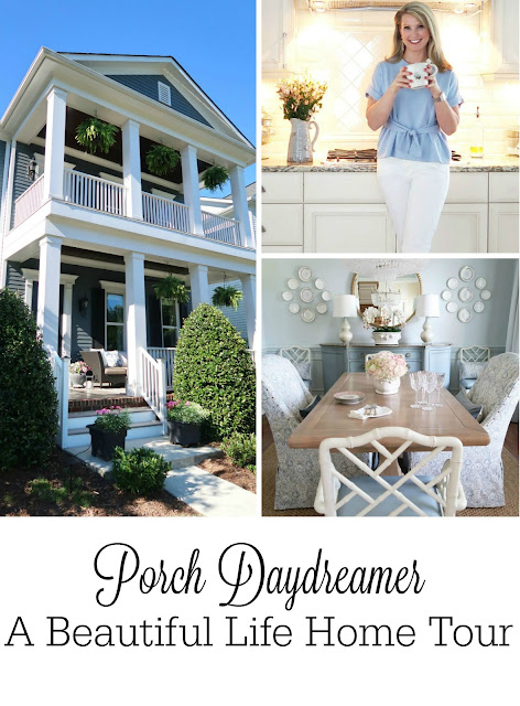 A gorgeous Charlotte, NC style home featuring three porches each with their own personalities.  A lovely soft blue and blush pink interior with many DIYs included. Tracey has designed and created an amazing home filled with life, tradition, and coastal touches.
