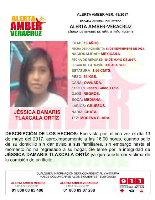 Activan Alerta Amber para Jessica Damaris Tlaxcala en Xalapa Veracruz