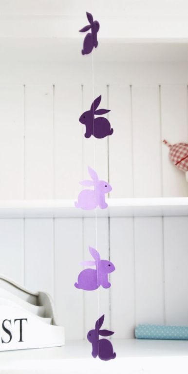 pastel lilac and purple Easter bunnies garaland
