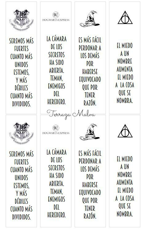 IMPRIMIBLE: MARCAPÁGINAS HARRY POTTER / PRINTABLE BOOKMARKS ...