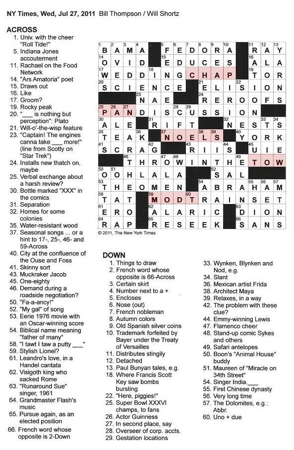 The New York Times Crossword in Gothic: July 2011