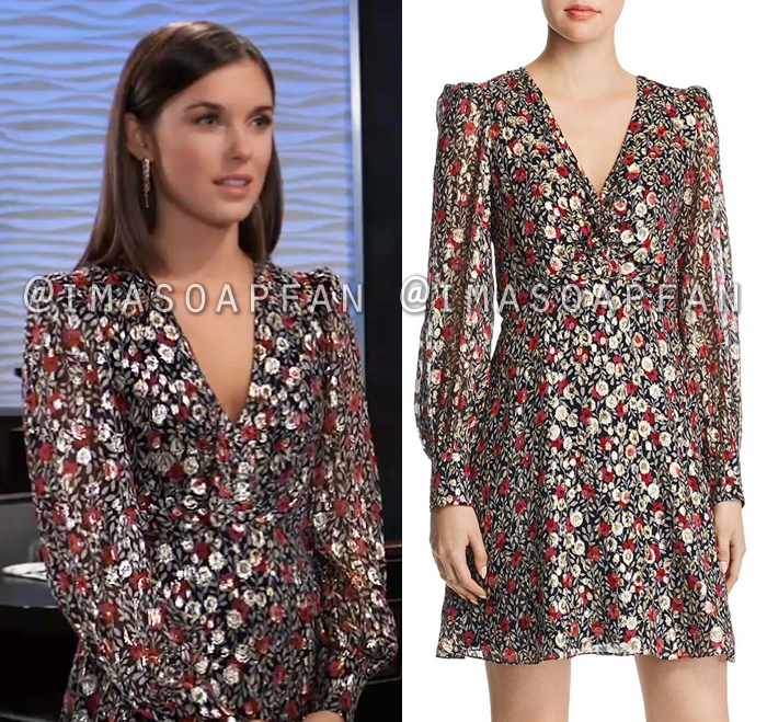 Willow Tait, Katelyn MacMullen, Floral and Metallic Clip Dot Dress, General Hospital, GH
