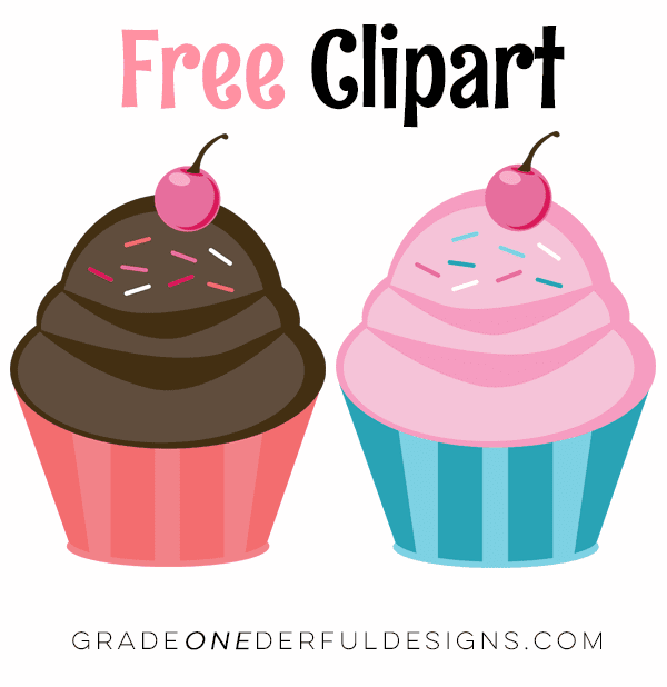 Free pink and chocolate cupcake clipart