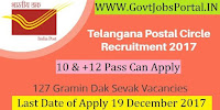 Telangana Postal Circle Recruitment 2017– 127 Gramin Dak Sevak
