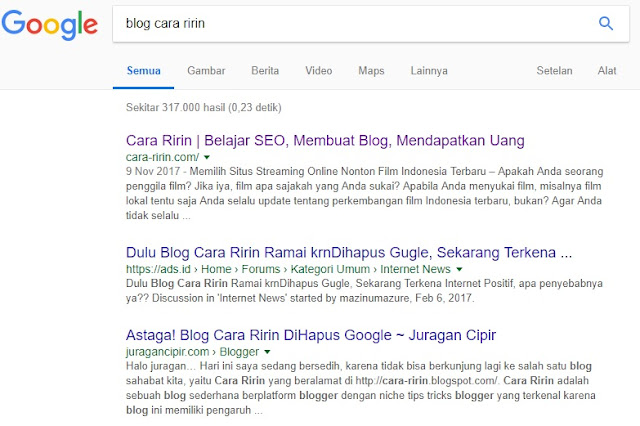 Hasil Pencarian Blog Cara Ririn Pada Google