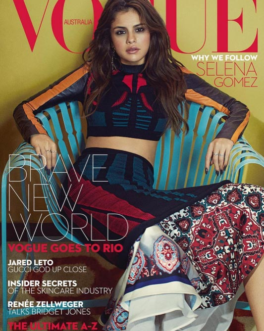 Senlena Gomez covers the frontpage of Vogue Magazine Australia