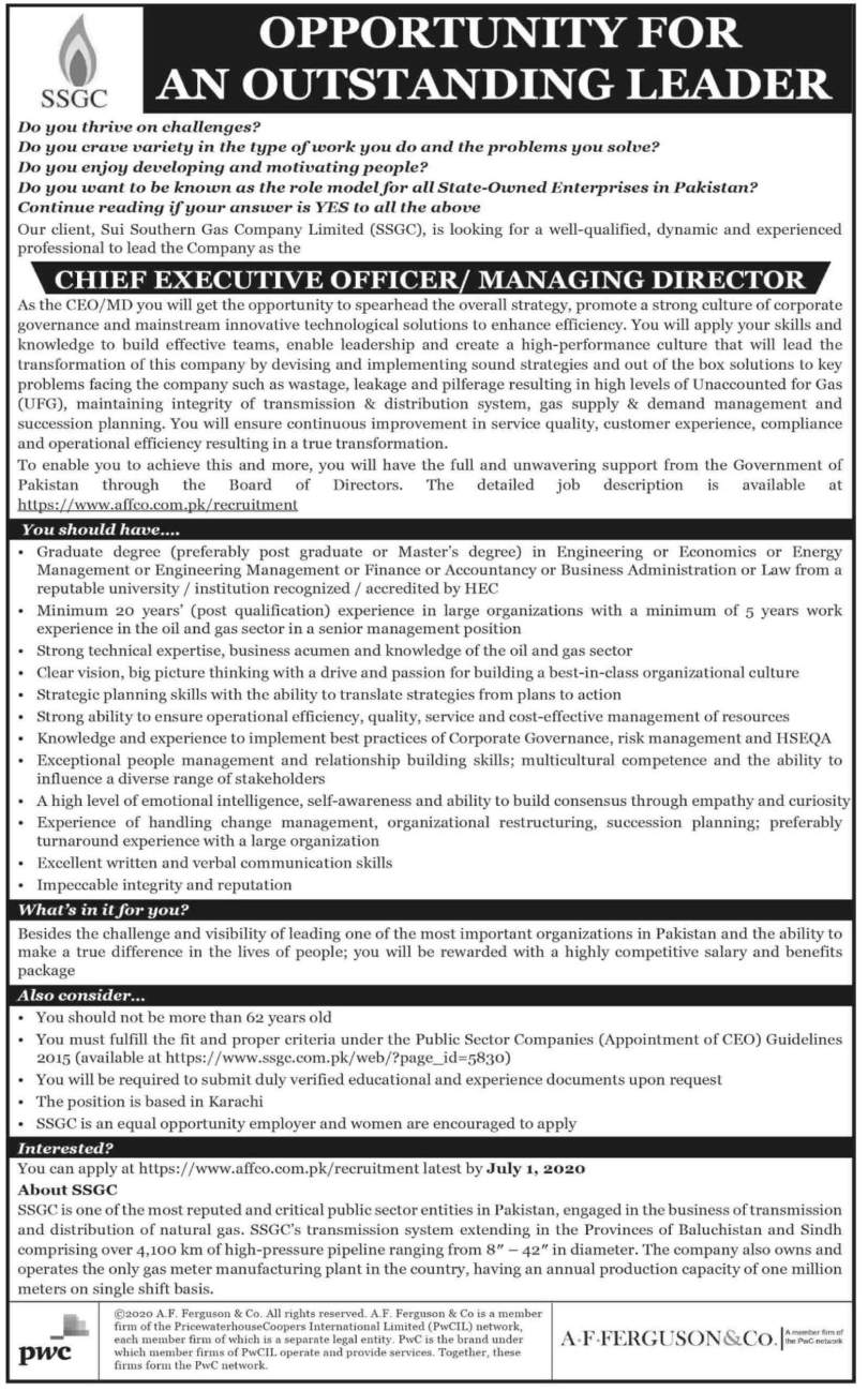 Jobs in Sui Southern Gas Company Limited 2020 Advertisement