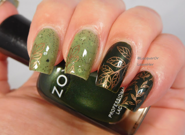UberChic Beauty Lovely Leaves 2 over Zoya Tabitha and LynBDesigns Quintessential Kiwi