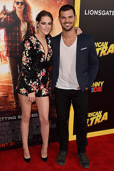 Kristen Stewart and Taylor Lautner at the premiere of American Ultra