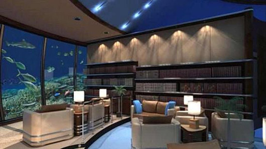 Poiseidon resort Fiji Islands - Underwater hotel reading room