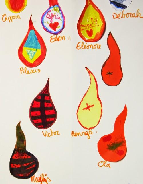 Petites flammes et prénoms pour la Pentecôte