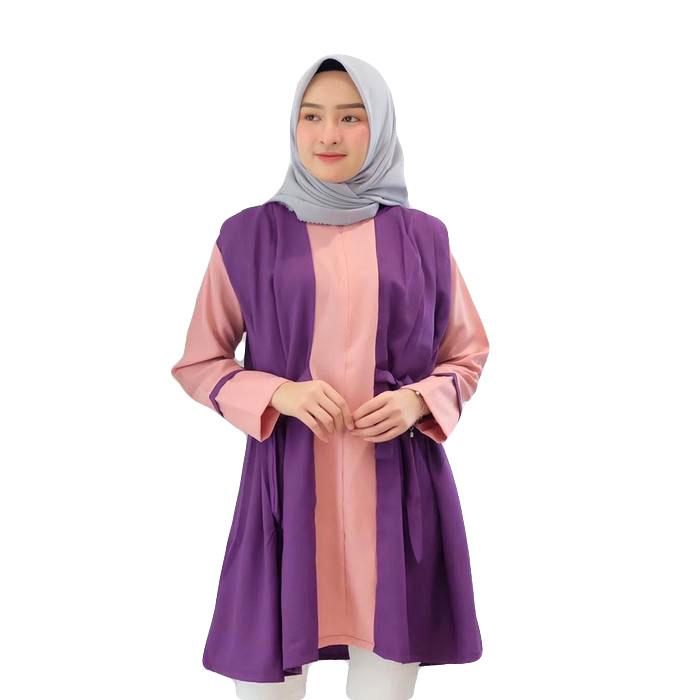 Dress Tunik Atasan Wanita Minimalis - Dusty-Ungu