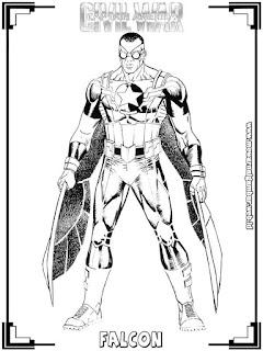 mewarnai tokoh falcon captain america civil war
