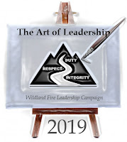 2019 Forest Fire Leadership Challenge Logo - Easel with a Brush and the WFLDP Logo