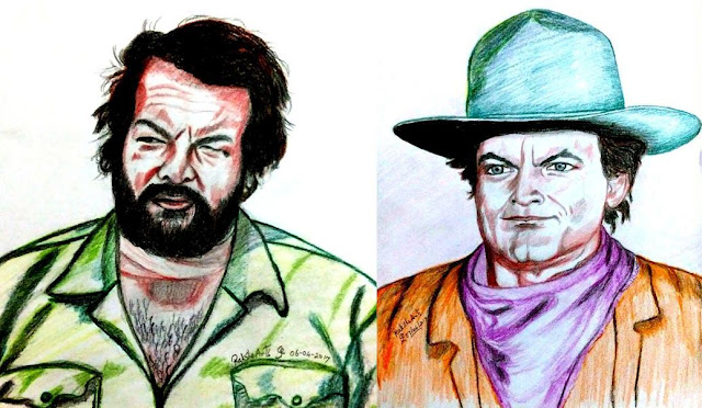 PENCIL DRAWING  - Terence Hill and Bud Spencer