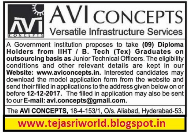 tejasri diploma holders b tech candidates required avi concepts  diploma holders b tech candidates required avi concepts versatile infrastructure services