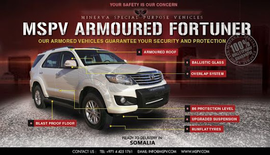 Armoured Bulletproof Toyota Fortuner - Popular SUV in Asia & Africa