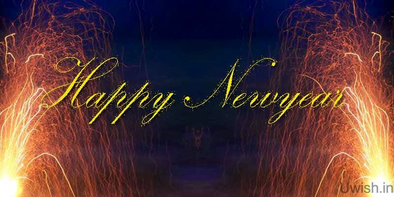 Happy New year  wishes and greetings with fireworks