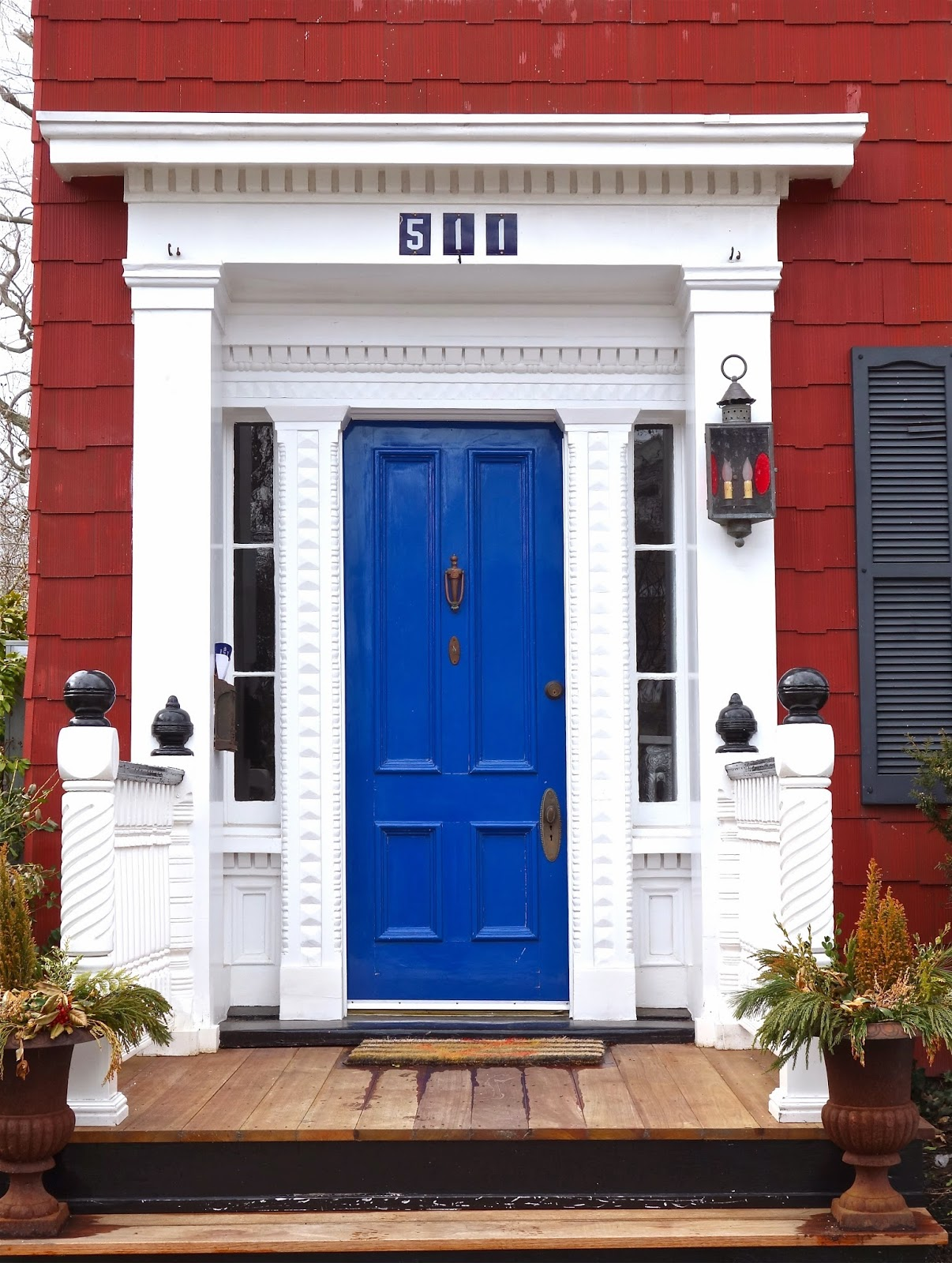 The road is mine blue door red house - House with blue door ...