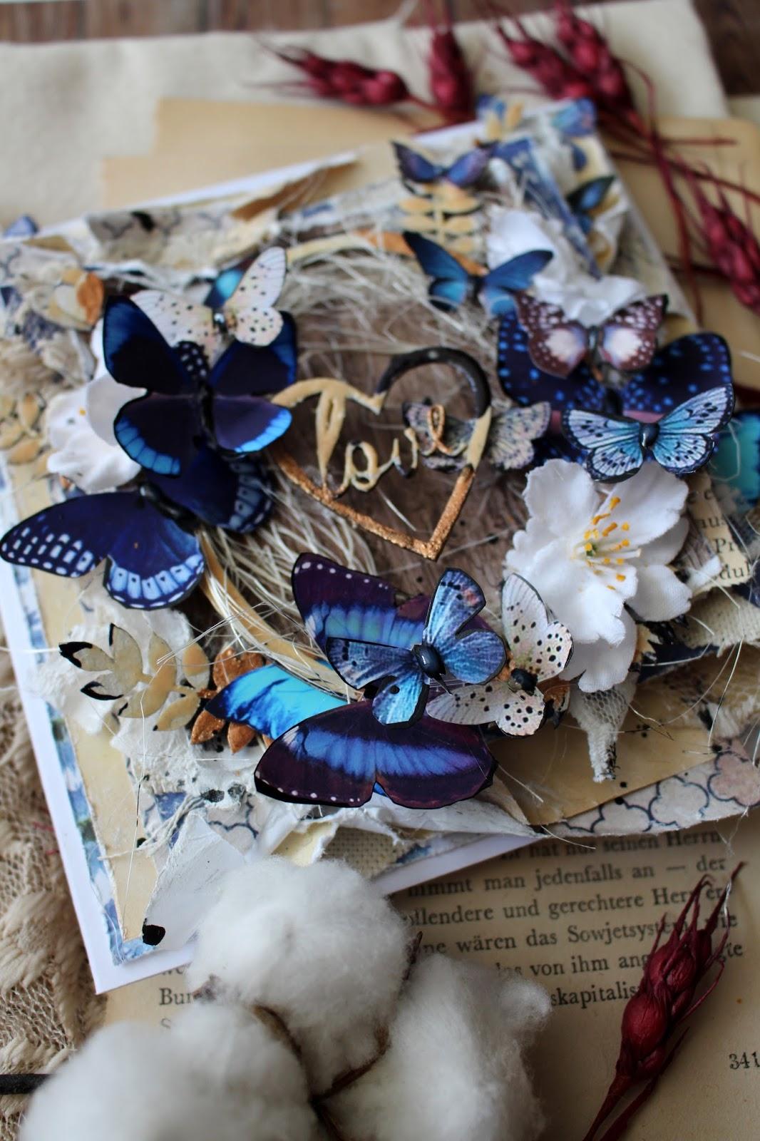Открытка с бабочками мк, шаблон