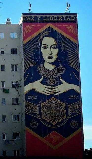 """Paz Y Libertard"" New Street Art Mural By American Artist Shepard Fairey For Maus Malaga In Spain. 2"