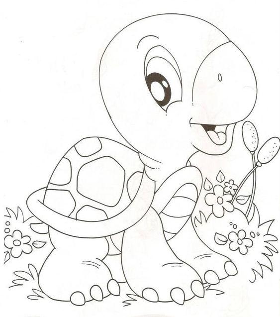 Tranh cho bé tô màu con rùa và cây hoa