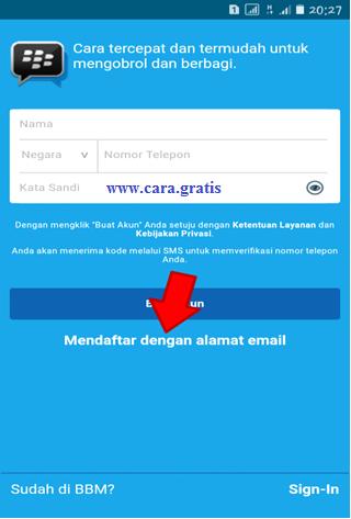 Daftar BBM dengan Email