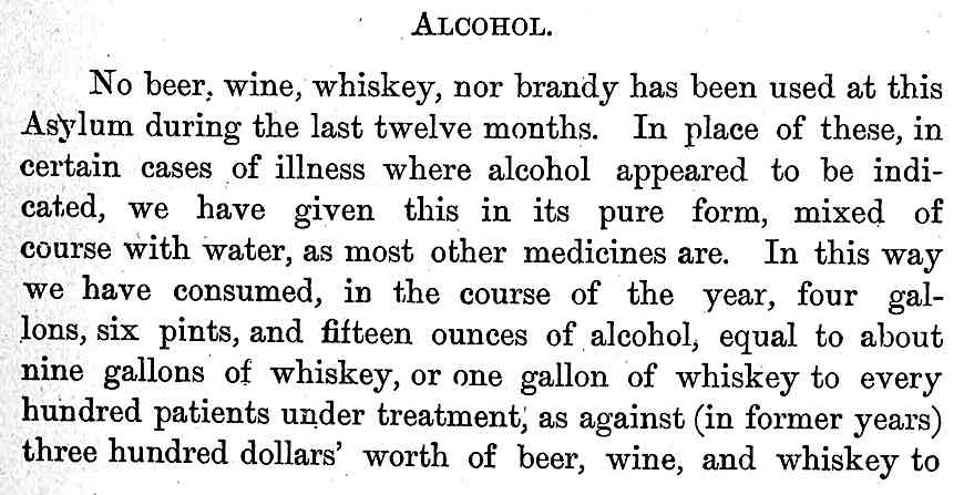alcohol as medicine:   at the 1890 London insane asylum,  alcohol mixed with  water was cheaper than beer wine or whiskey for patient consumption