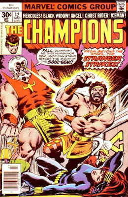 The Champions #12, the Stranger shoots Hercules with eye-beams