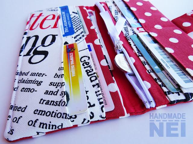 """Handmade Nel: Червено портмоне от плат """"Вестник"""""""
