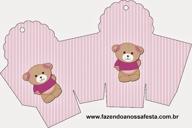 Caja para cupcakes, chocolates o golosinas de Osita en Fondo Lila.