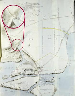 Map of around LeBreton Flats and Chaudière falls (north at bottom) showing a road coming over the islands from Wrightstown (Hull) and splitting a few times into a road east to Richmond Landing, a road west to Nepean Bay (labelled as Rafting Bay), a road southwest which splits further south (up on map) into roads to Hogsback and Richmond, and a road southeast that follows the gorge and crosses it at a bridge, continuing to Hogs Back. Off this road, just south of the bridge, splits another road at a 90 degree angle labelled Road to 1st Eight Locks, i.e. the connection to Wellington Street.