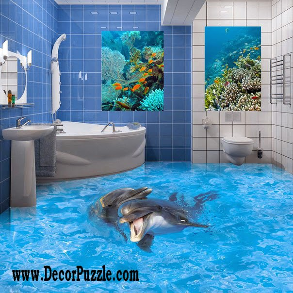 3d bathroom floor murals designs, 3d epoxy floor, 3d dolphin floor
