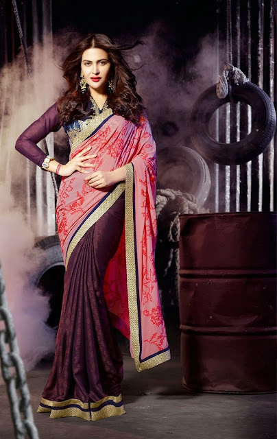 Exculsive Peach & Dark Maroon Georgette  Designer Bollywood Saree With Resham Embrodery