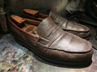 weston lezard, weston lezard mocassins, renovation souliers paulus bolten