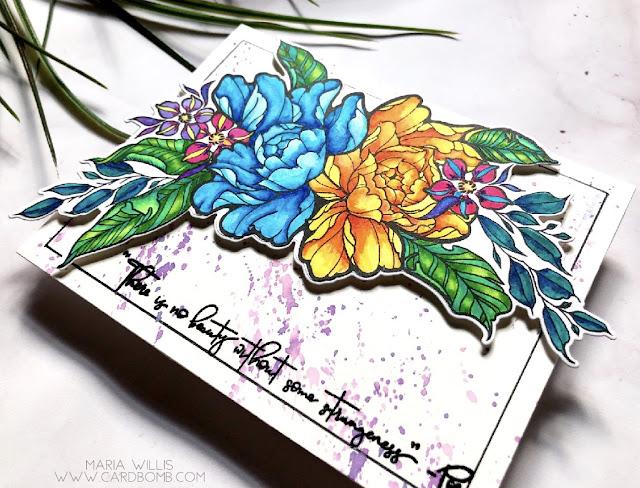 #mariawillis, #cardbomb, #card, #cardmaking, #handmade, #art, #arteza, #artezarealbrushpens, #flowers, #stamps, #ink, #paper, #craft, #simonsaysstamps,