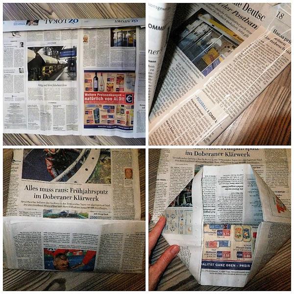 Papiertüten aus Zeitungspapier basteln DIY