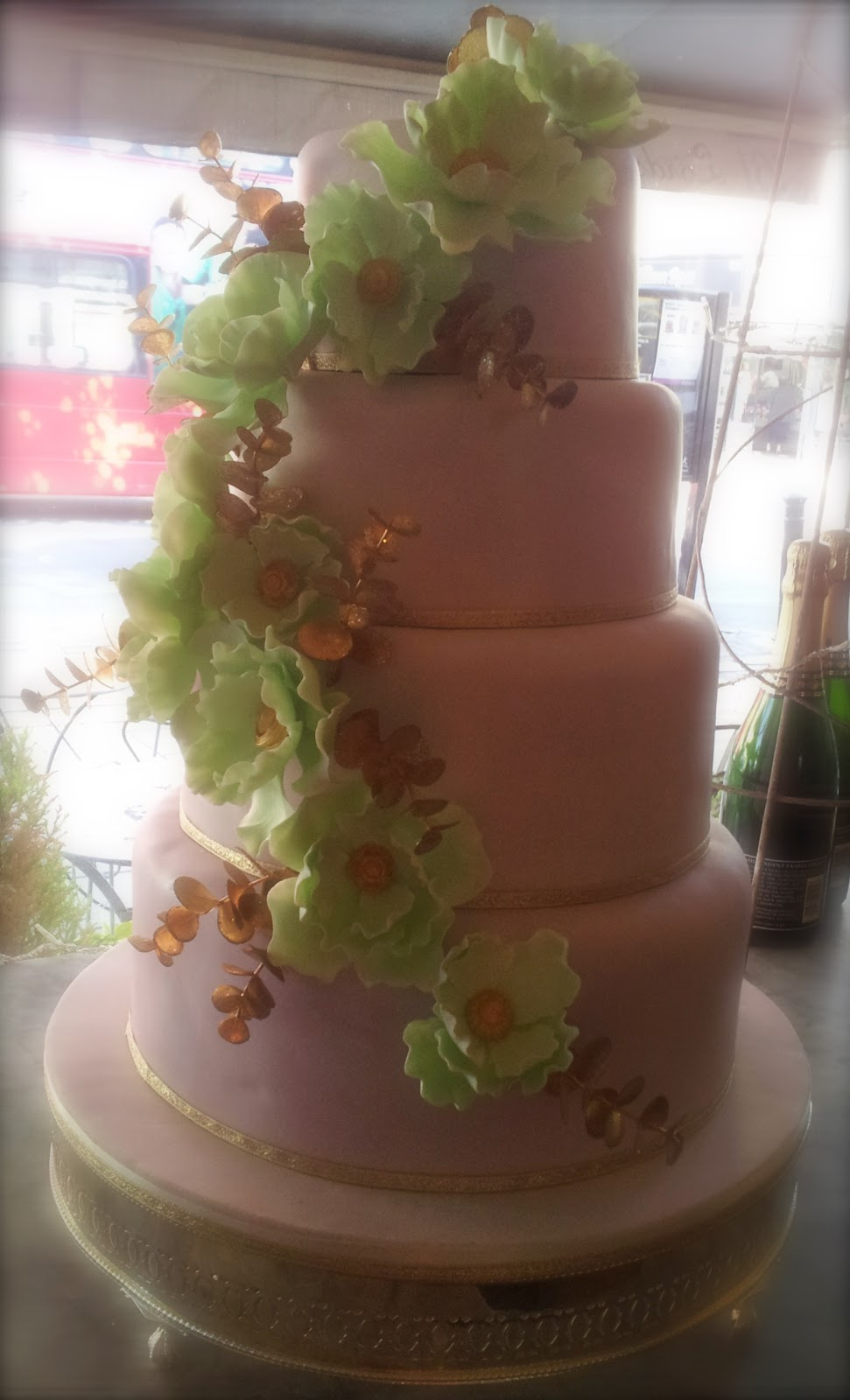 Lilac Green And Gold Wedding Cake Boutique Cake Shop