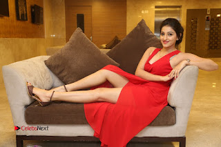 Actress Mouryani Stills in Red Dress at Intlo Deyyam Nakem Bhayam Trailer Launch  0331