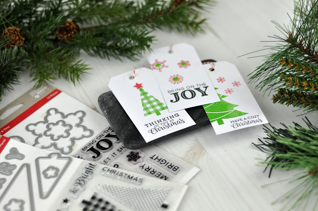 Jen Gallacher used new holiday stamp sets from Jillibean Soup to create these charming Christmas Present tags. #jillibeansoup #jengallacher #stamping