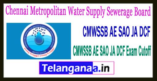 CMWSSB Chennai Metropolitan Water Supply Sewerage Board JA/DCF/AE/SAO Expected Cutoff 2018
