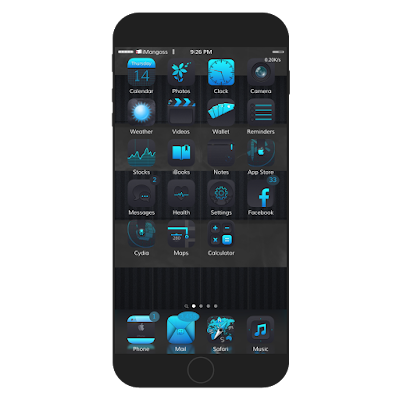 SiMPRO9 is a sleek, dark theme which contains UI elements, tons of icons, battery and network icons, bootlogo and is compatible with iOS 7, 8 and 9. Though it is not compatible with iPhone 6 or higher but it works perfectly.