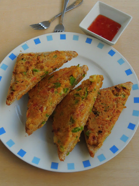 Besan Vegetable Bread Toast
