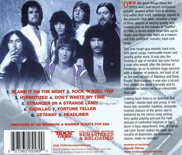 FANDANGO (Joe Lynn Turner) - Cadillac [Rock Candy remastered] back