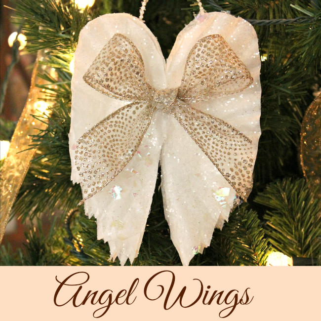 Gold bow on angel wing ornaments